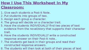 Character Trait/Text Evidence Worksheet