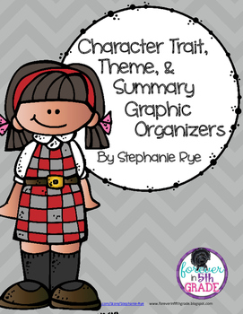Character Trait, Theme, Author's Message and Summary Graphic Organizers