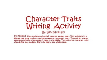 Character Trait Valentine Activity