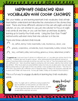 Character Trait Vocabulary Cootie Catchers RL3.3 RL4.3