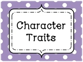 Character Trait Vocabulary Wall Cards