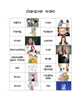 Character Trait Word Bank with Pictures