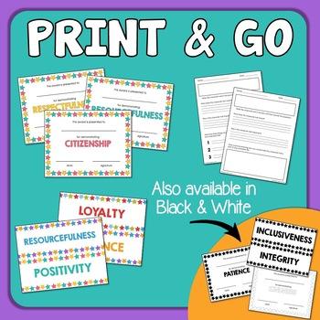 Character Traits - No Prep Printables for Character Education