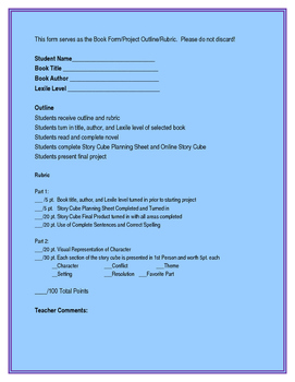 Character Trait and Point of View Book Project with Rubric