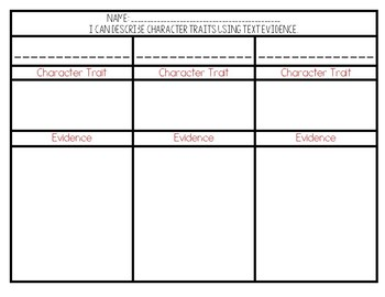 Character Trait and Text Evidence Graphic Organizer