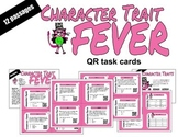 Character Trait Task Cards with QR codes - cat theme