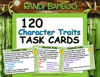 Character Traits Task Cards and Test