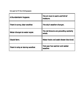 Weather Cause and Effect Matching Activity