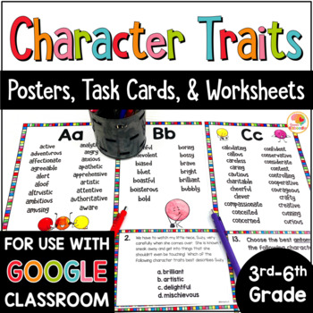 Character Traits Activities: Lists, Worksheets and Task Cards