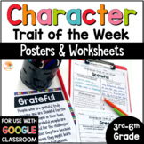 Character Traits Distance Learning Graphic Organizer   Trait of the Week