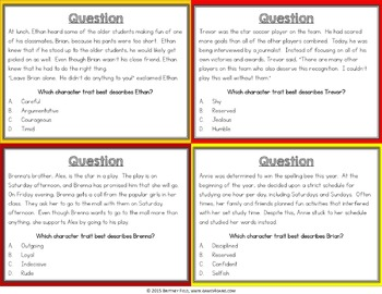 Character Traits Activity: Character Traits Passages Reading Game