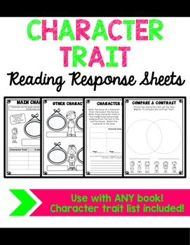 Character Trait Reading Response Sheets