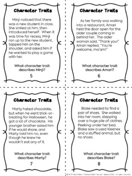 Character Traits Task Cards to Build Vocabulary