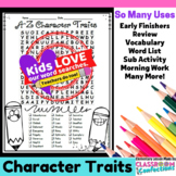 Character Traits Activity: Character Traits Word Search: V
