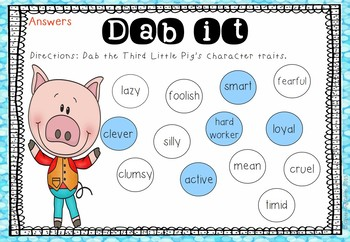 Fairy Tales Character Trait Dab It Activities