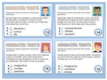 Character Traits - 40 Task Cards - PDF File No Prep Language