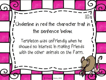 Charlotte's Web - Character Trait Task Cards