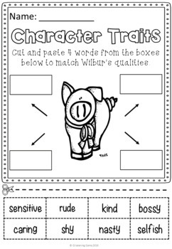 Charlotte's Web Character Trait Activities  (No Prep)