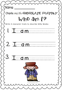 Charlie and the Chocolate Factory - Character Trait Activities (No Prep)