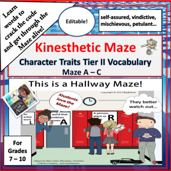 Character Traits A-C Kinesthetic Maze
