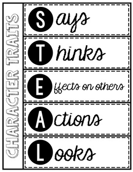 Character Traits Activities