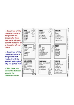 Character Traits Activity Reading