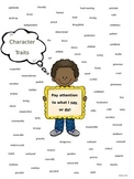 Character Traits Anchor Chart:  PARCC and Common Core Standards Aligned