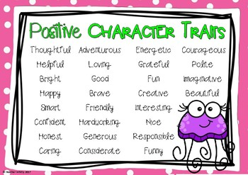 Character Traits Anchor Charts- Positive, Negative, Neutral