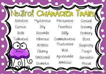 Character Traits Anchor Charts  Positive, Negative, Neutral  Positive Character Traits