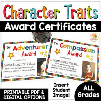 Character Traits Awards: Insert Digital Student Image