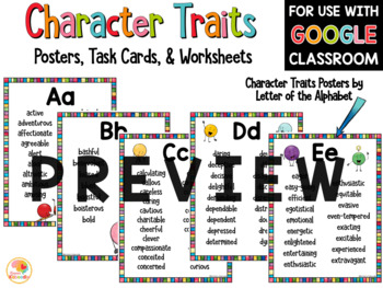 Character Traits Posters, Task Cards, Printables, and Awards BUNDLE