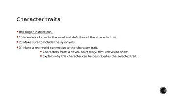 Character Traits Bell Ringer