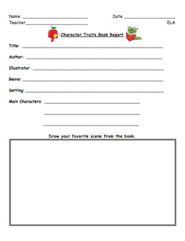 Character Traits Book Report