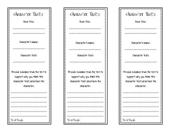 Character Traits Bookmark/Exit Ticket