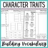 Building Character Trait Vocabulary - Sorts, Fun Activities - Print & Digital