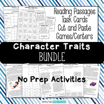 Character Traits Bundle - Reading Passages, Word Wall, Vocabulary, and More