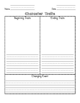Character Traits Change Graphic Organizer!