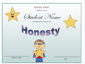 Character Traits / Character Education Certificates