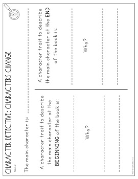 Character Traits Worksheets and Graphic Orgnaizers for Mini Lessons