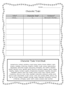 Character Traits Chart