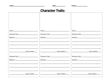 Character Traits Chart for any story