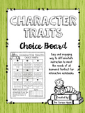 Character Traits Choice Board