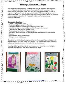 Character Traits Collage Directions, Checklist, Structured summary
