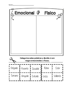 Character Traits Cut and Paste Spanish / Rasgos de Personaje