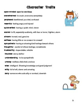 Character Traits Defintions