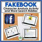 Facebook Profile Template | Character Traits | Graphic Organizer