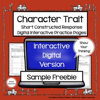 Character Traits DigitalGraphic Organizers & Constructed Response Sample FREEBIE