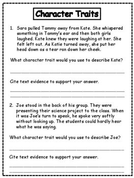 Character Traits: Identify and Prove Character Traits
