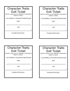 Character Traits Exit Ticket
