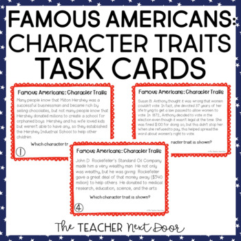 Character Traits: Famous Americans Task Cards